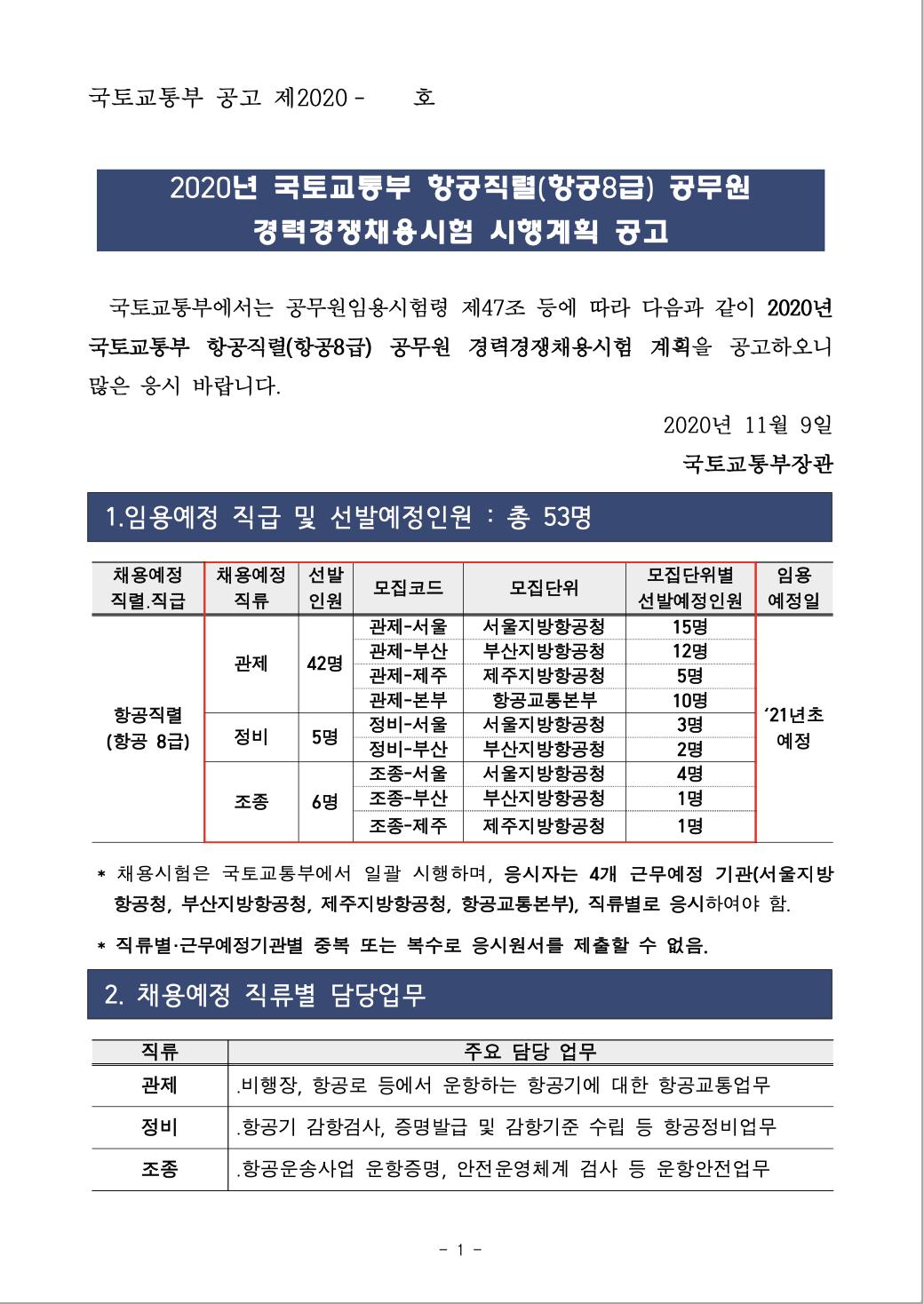 2020년 국토교통부 항공직렬(항공8급) 공무원 경력경쟁채용 공고